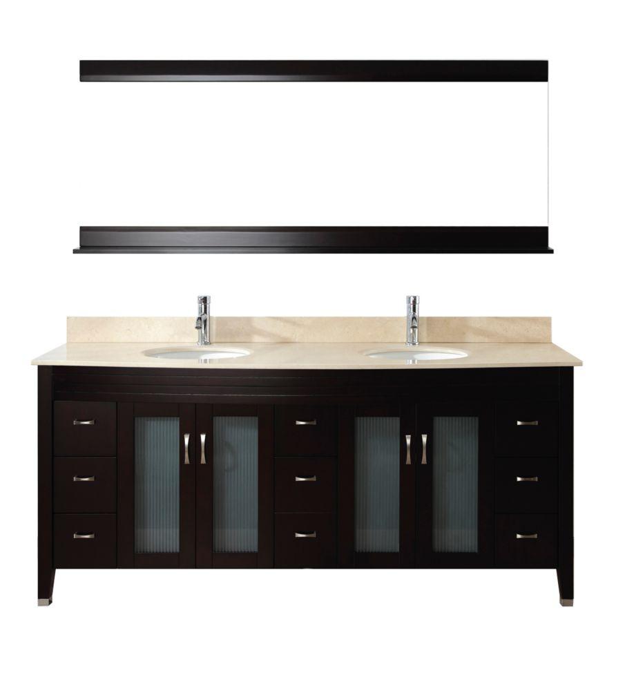 Vanité Alba 75 de couleur chai / beige avec miroir et robinet