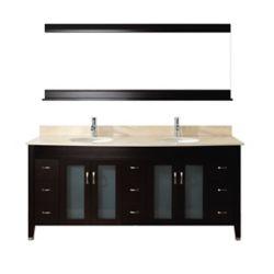Art Bathe Alba 75-inch W 8-Drawer 4-Door Vanity in Brown With Marble Top in Beige Tan, Double Basins