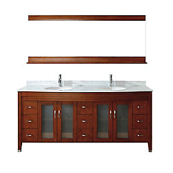 Art Bathe Alba 75-inch W 8-Drawer 4-Door Vanity in Brown With Marble Top in Grey, Double Basins