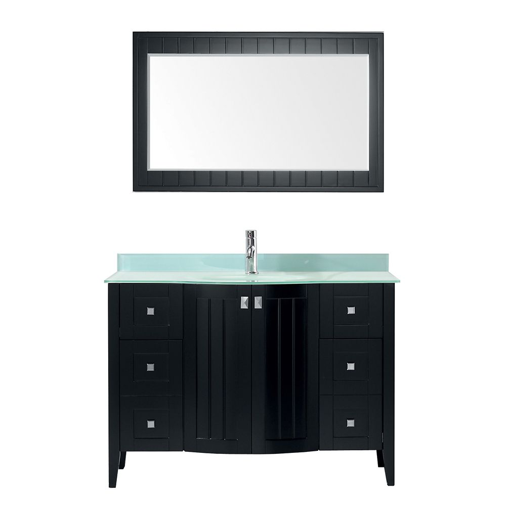 Vanité Bridgeport 48 de couleur expresso / verre Vavec miroir et robinet