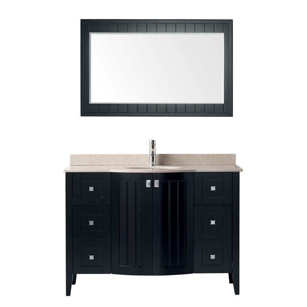 Bridgeport 48-inch W Vanity in Espresso/Beige with Mirror and Faucet