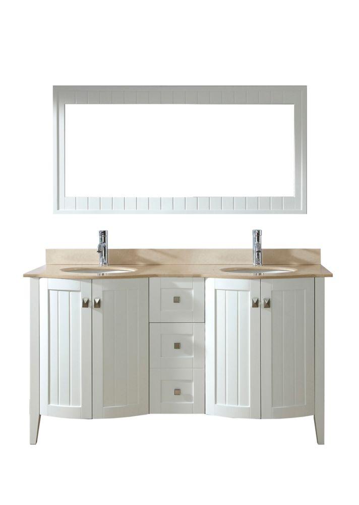 Vanité Bridgeport 60 de couleuro blanc / carrera avec miroir et robinet