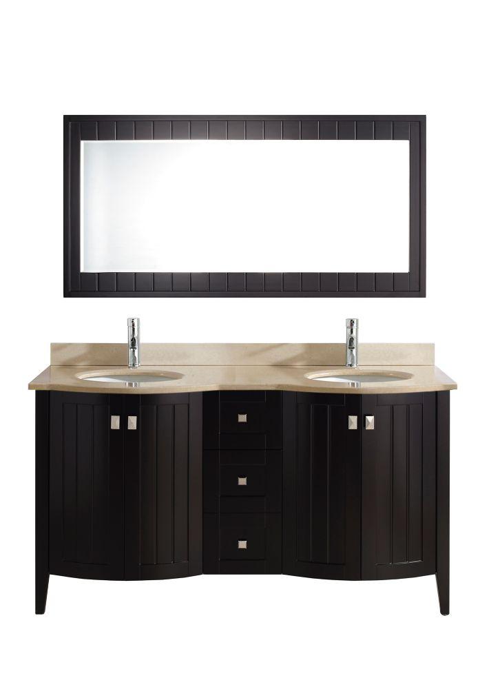 Vanité Bridgeport 60 de couleur expresso / beige avec miroir et robinet
