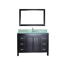 Art Bathe Corniche 48-inch W 6-Drawer 2-Door Vanity in Black With Artificial Stone Top in Green