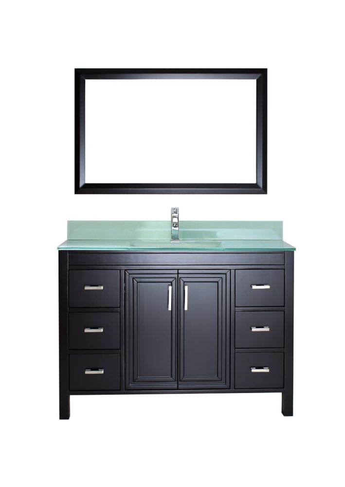Corniche 48-inch W Vanity in Espresso with Glass Top in Mint Green with Porcelain Basin and Mirro...