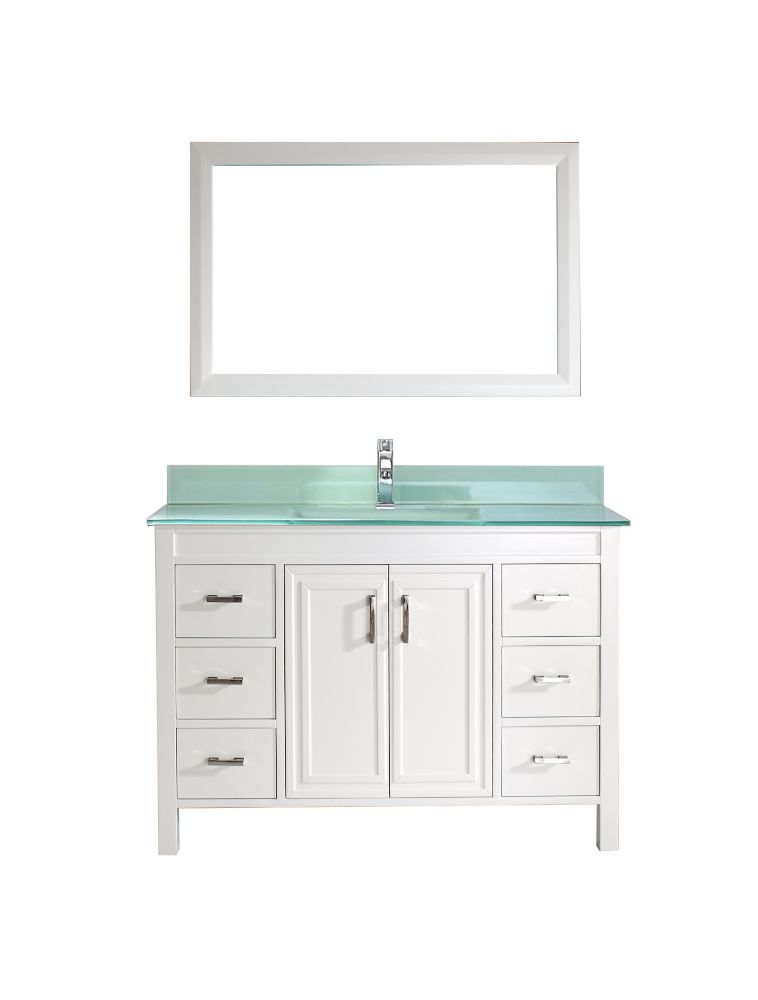 Corniche 48-inch W Vanity in White with Glass Top in Mint Green with Porcelain Basin and Mirror