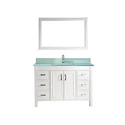 Art Bathe Corniche 48-inch W 6-Drawer 2-Door Vanity in White With Artificial Stone Top in Green