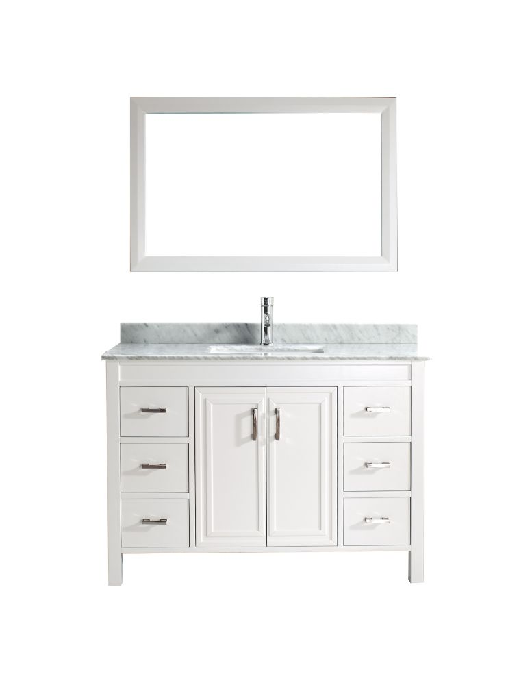 Corniche 48-inch W Vanity in White with Marble Top in Carrara with Porcelain Basin and Mirror