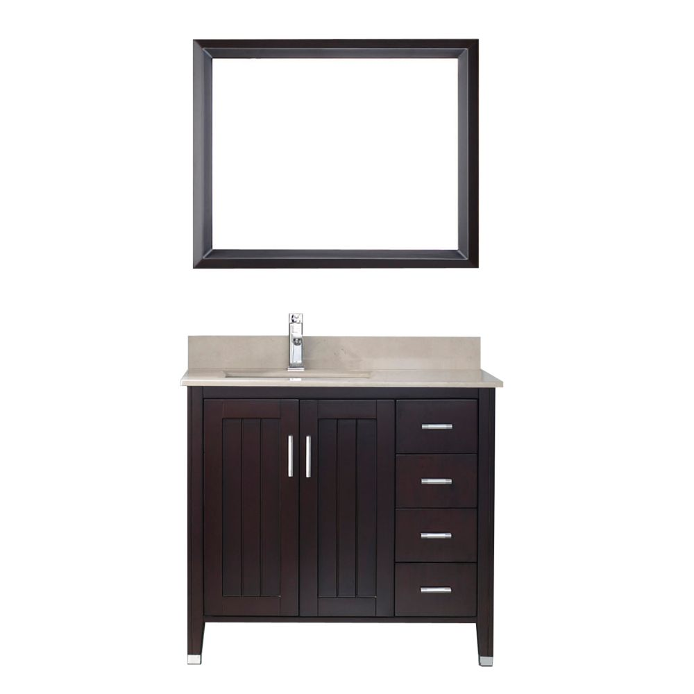 Art Bathe Jackie 36 Inch W Vanity In Chai Beige With Mirror And Faucet The