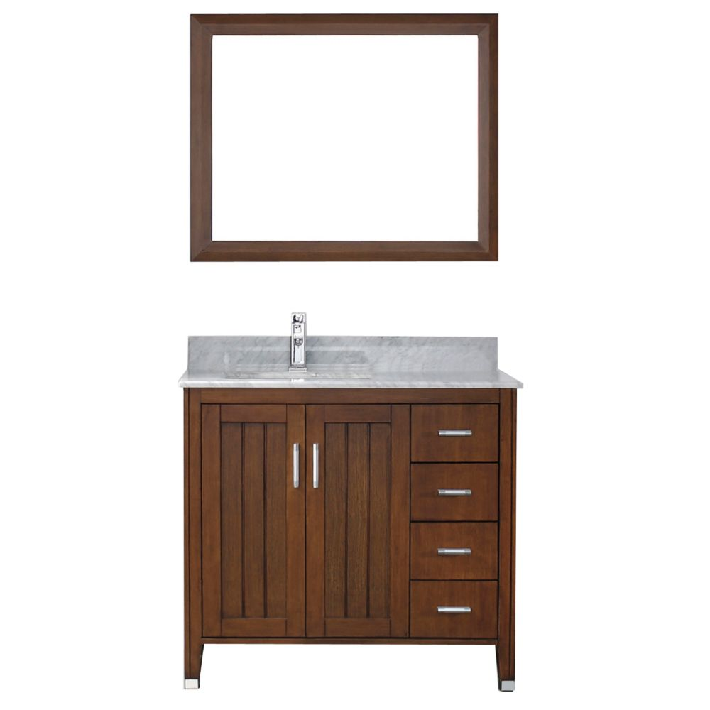 Art Bathe Jackie 36-inch W 4-Drawer 2-Door Vanity in Brown With Marble Top in Grey With Faucet And Mirror
