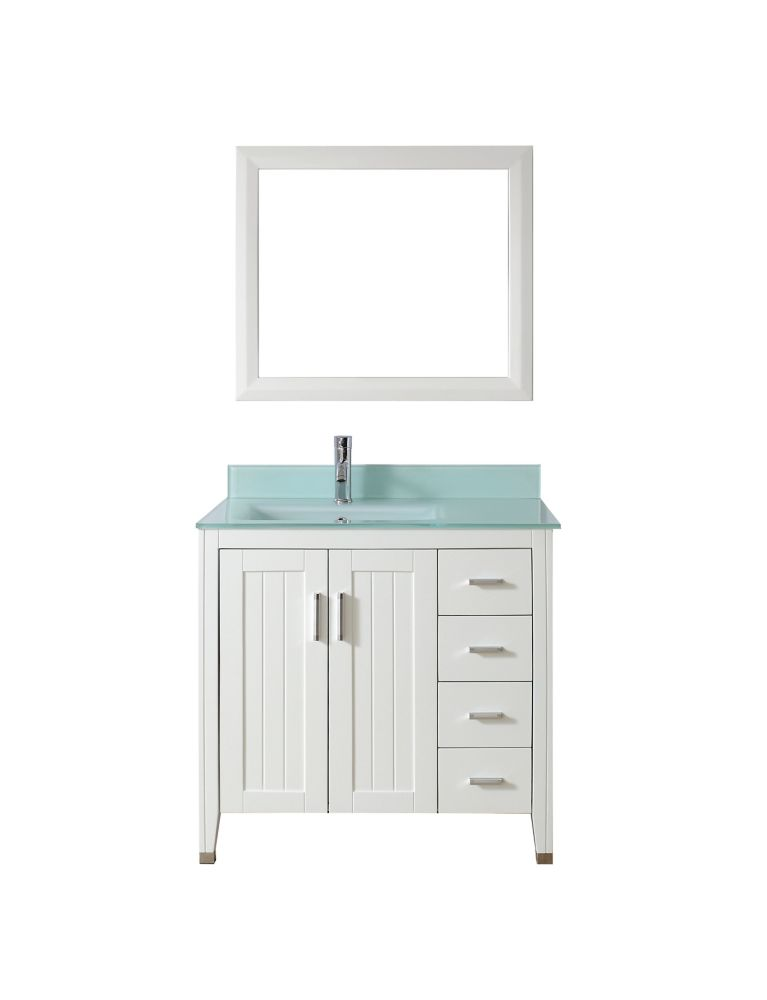Jackie 36-inch W Vanity in White/Glass with Mirror and Faucet