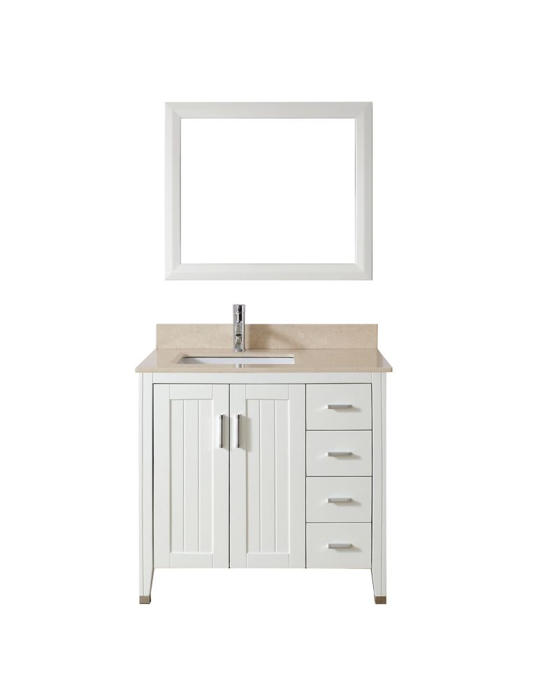 Jackie 36-inch W Vanity in White/Beige with Mirror and Faucet