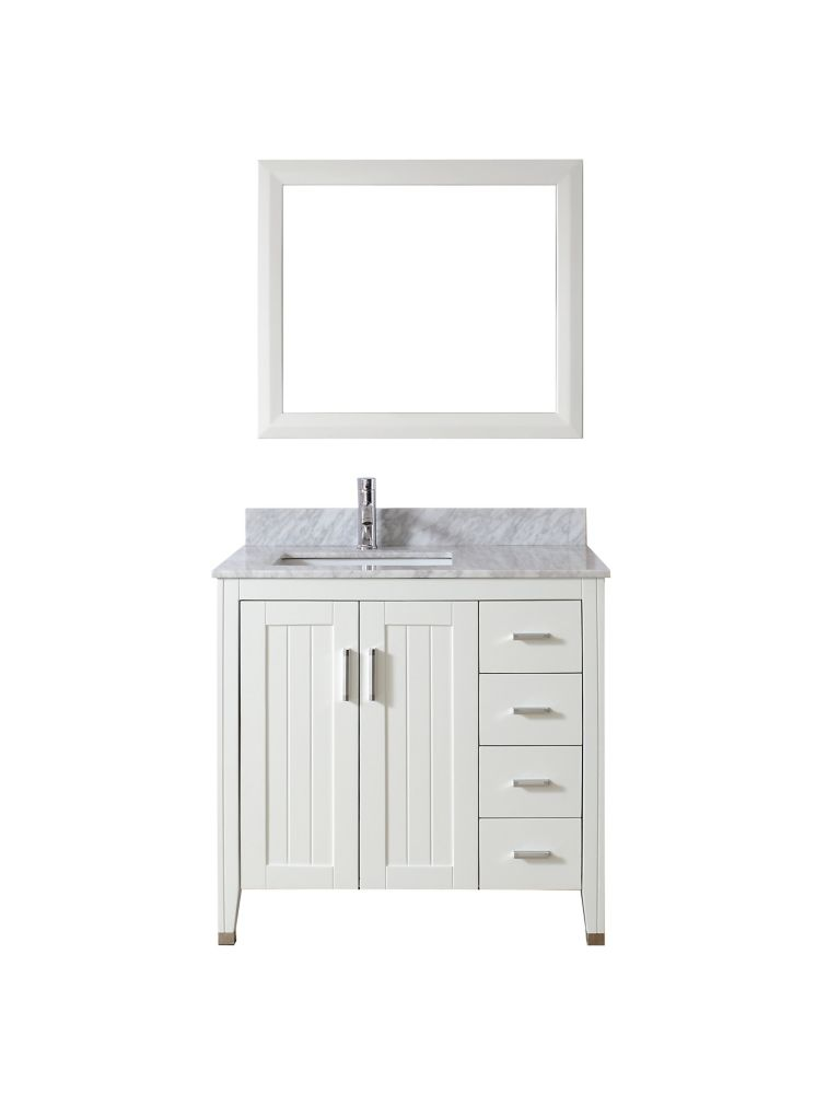 Jackie 36-inch W Vanity in White/Carrara with Mirror and Faucet