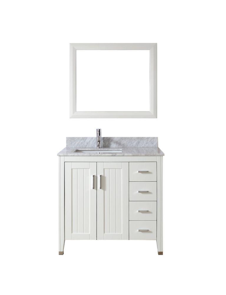 Vanité Jackie 36 de couleur blanc / carrera avec miroir et robinet