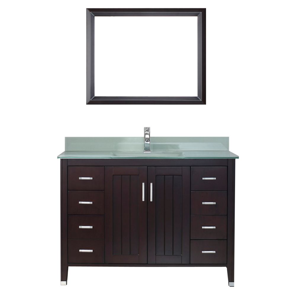 Jackie 48-inch W Vanity in Chai with Glass Top in Mint Green with Porcelain Basin and Mirror