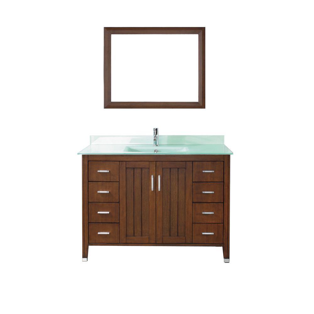 Vanité Jackie 48 de couleur cerise classique / verre avec miroir et robinet