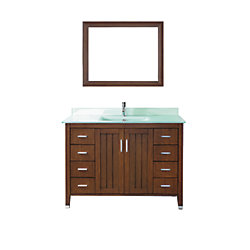 Art Bathe Jackie 48-inch W 7-Drawer 2-Door Vanity in Brown With Acrylic Top in Green With Faucet And Mirror