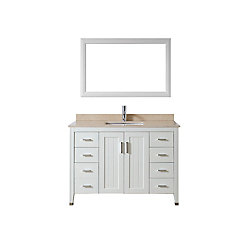 Art Bathe Jackie 48-inch W 7-Drawer 2-Door Vanity in White With Marble Top in Beige Tan With Faucet And Mirror