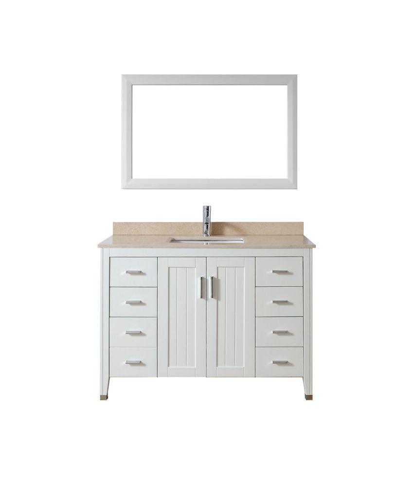 Vanité Jackie 48 de blanc / beige avec miroir et robinet