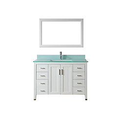 Art Bathe Jackie 48-inch W 7-Drawer 2-Door Vanity in White With Acrylic Top in Green With Faucet And Mirror