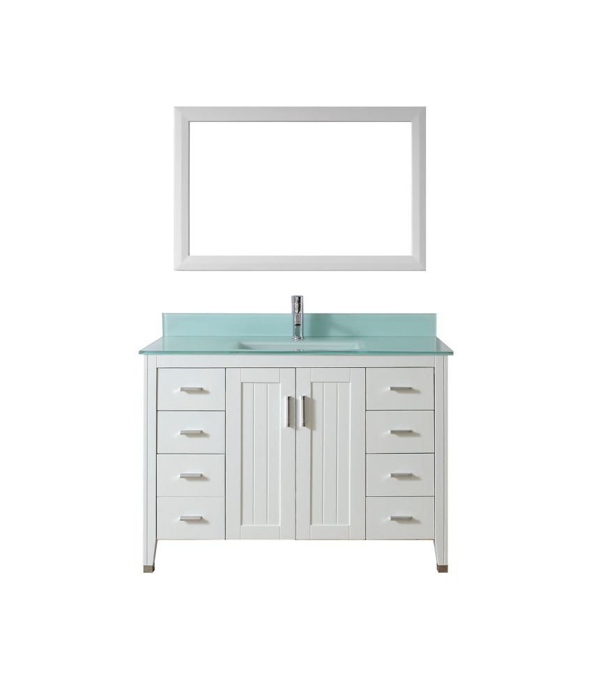 Jackie 48-inch W Vanity in White with Glass Top in Mint Green with Porcelain Basin and Mirror