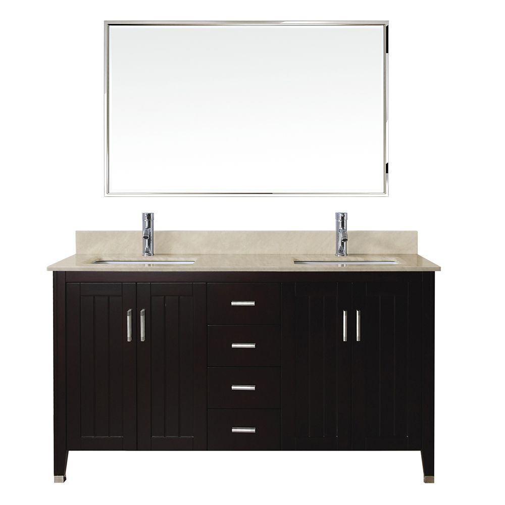 Jackie 60-inch W Vanity in Chai/Beige with Mirror and Faucet