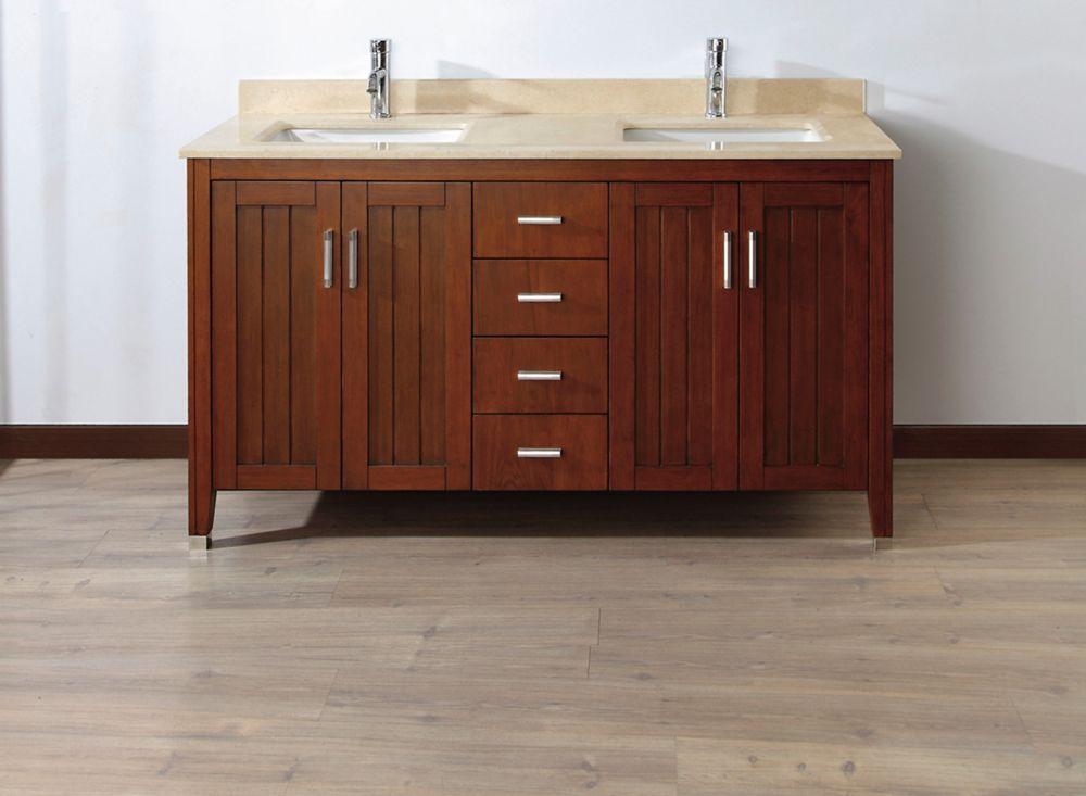 Jackie 60-inch W 6-Drawer 4-Door Vanity in Brown With Marble Top in Beige Tan, Double Basins