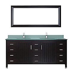 Art Bathe Jackie 72-inch W 11-Drawer 2-Door Vanity in Brown With Acrylic Top in Green, Double Basins