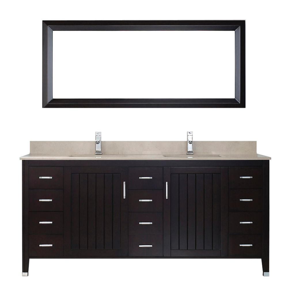 Jackie 72-inch W Vanity in Chai/Beige with Mirror and Faucet