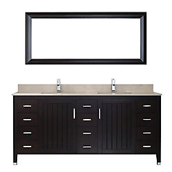 Art Bathe Jackie 72-inch W 11-Drawer 2-Door Vanity in Brown With Marble Top in Beige Tan, Double Basins