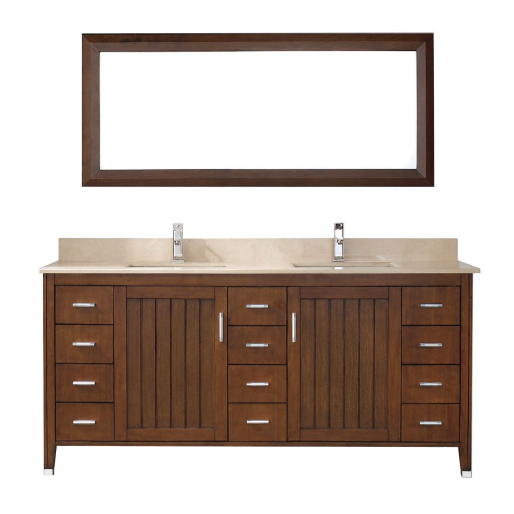 Jackie 72-inch W Vanity in Cherry with Marble Top in Beige with Porcelain Basin and Mirror