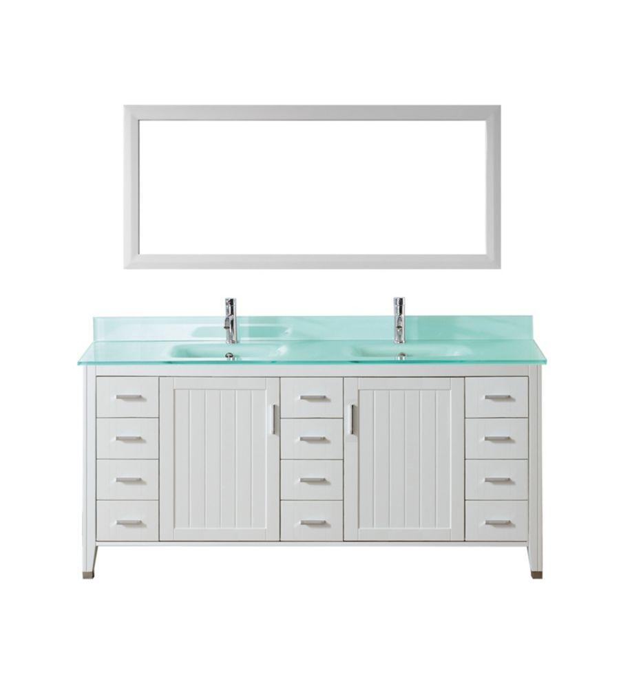 Vanité Jackie 60 de couleur blanc / verre avec miroir et robinet