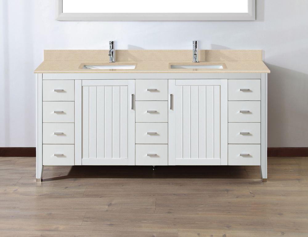 Art Bathe Jackie 72-inch W 11-Drawer 2-Door Vanity in White With Marble Top in Beige Tan, Double Basins