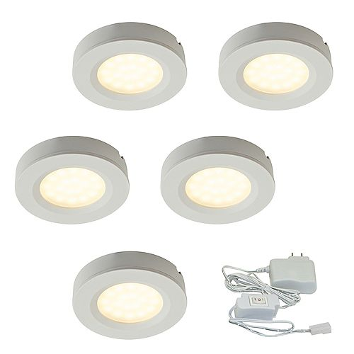 Illume 2.75-inch White Plastic LED Puck Kit (5-Pack)
