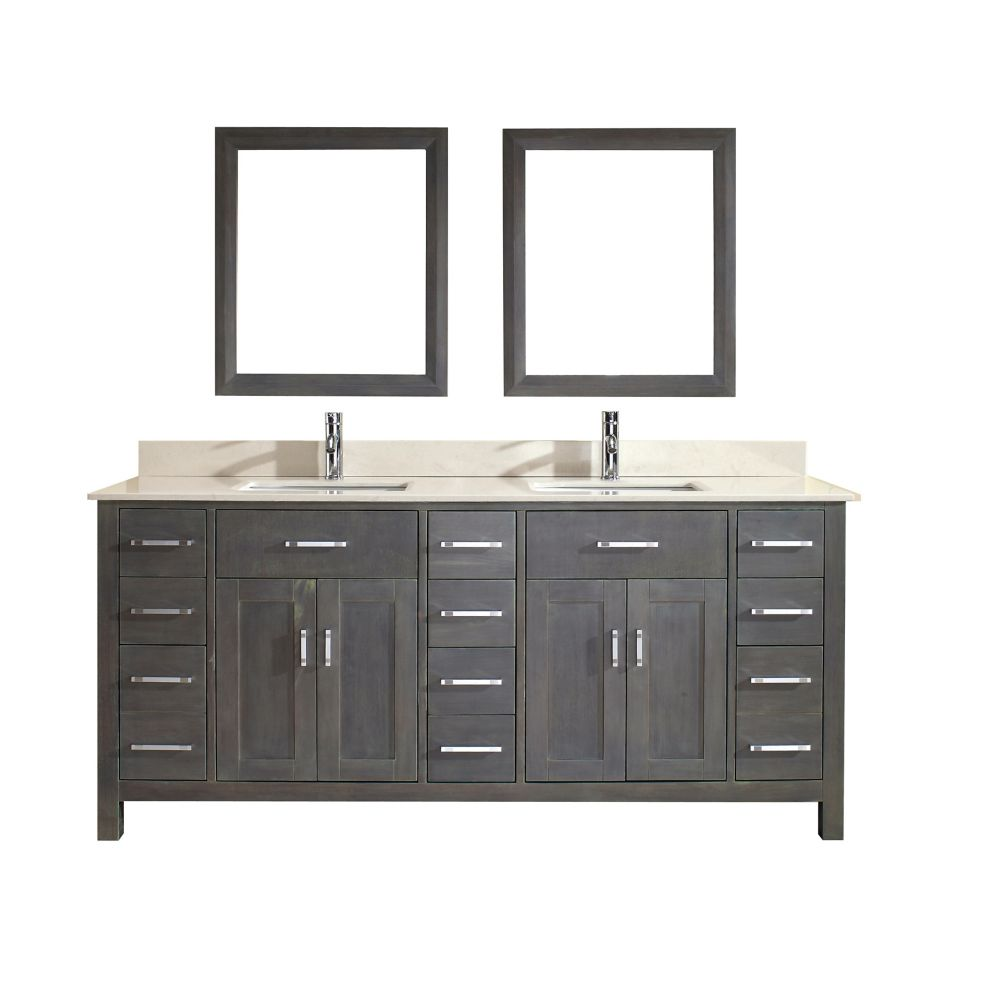 Kalize 75-inch W Vanity in Grey with Marble Top in Beige with Porcelain Basin and Mirror
