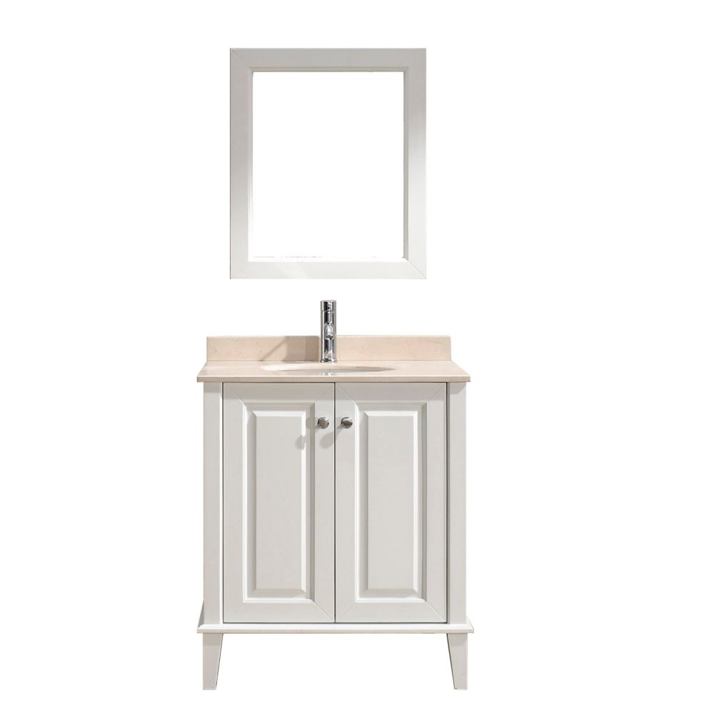 Lily 30-inch W Vanity in White with Marble Top in Beige with Porcelain Basin and Mirror