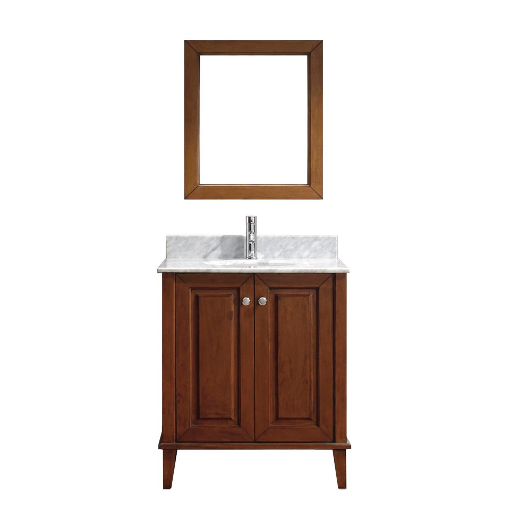 Lily 30-inch W Vanity in Cherry with Marble Top in Carrara with Porcelain Basin and Mirror