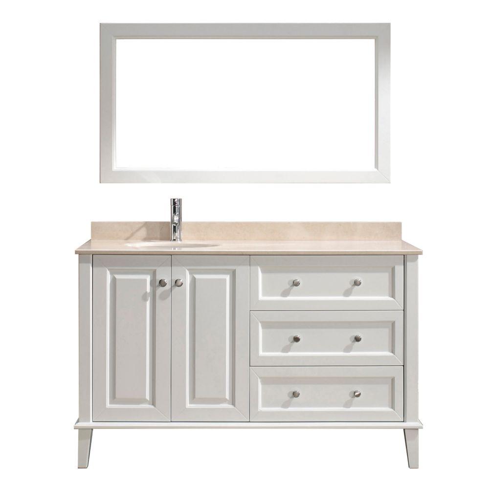 Vanité Lily 55 de couleur blanc / beige avec miroir et robinet