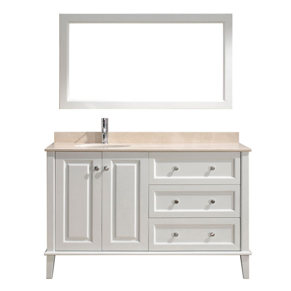 Lily 55-inch W Vanity in White with Marble Top in Beige with Porcelain Basin and Mirror