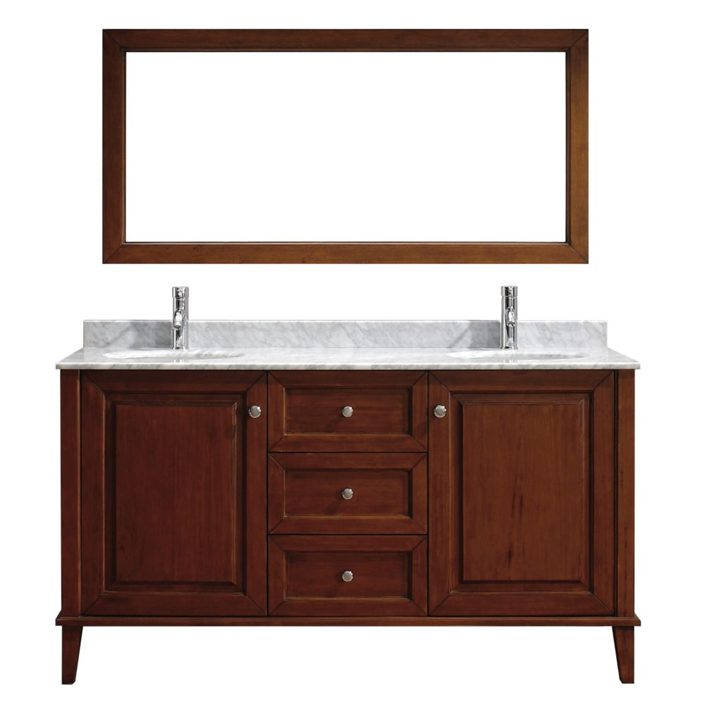 Lily 63-inch W Vanity in Cherry with Marble Top in Carrara with Porcelain Basin and Mirror