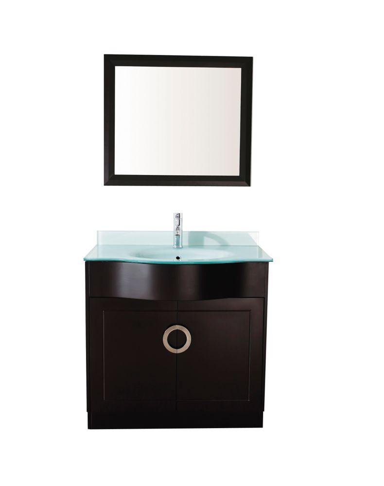 Vanité Zoe 36 de couleur expresso / verre avec miroir et robinet