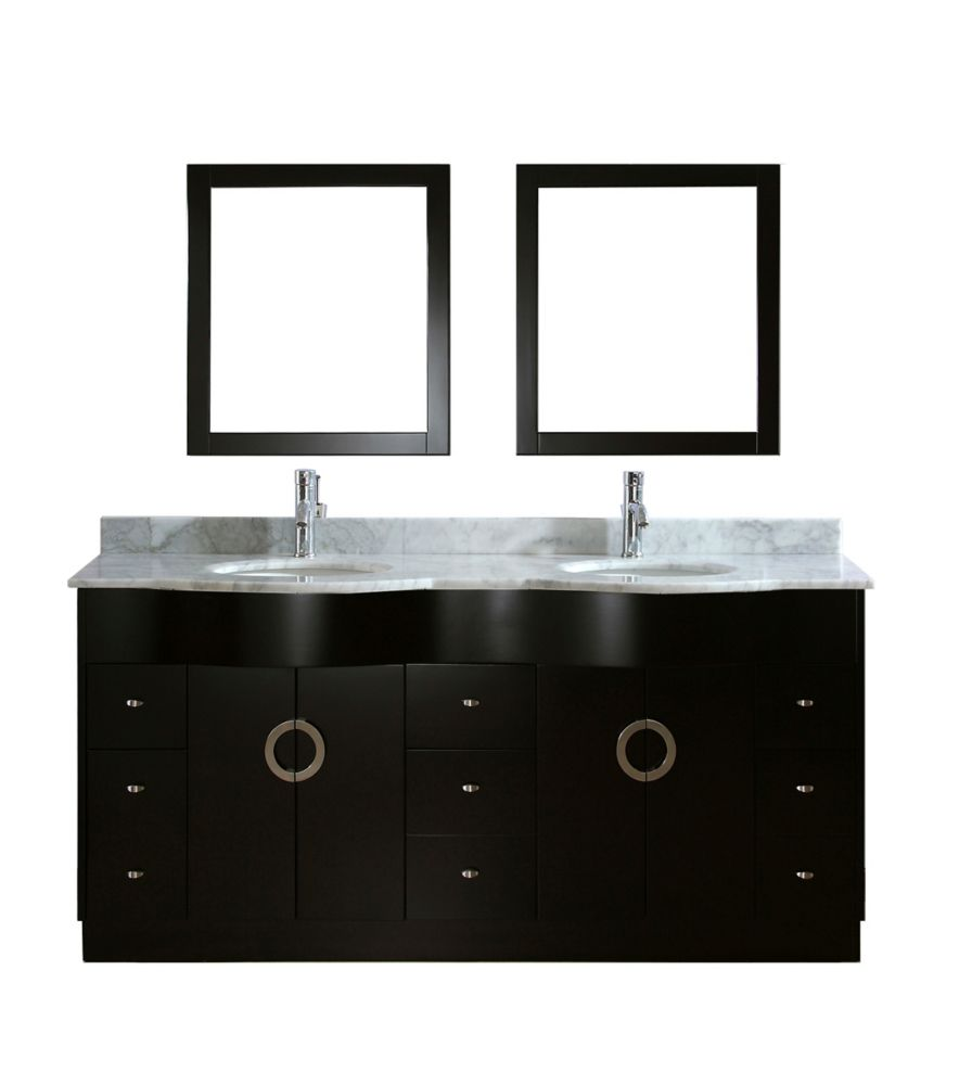 Zoe 72-inch W Vanity in Espresso with Marble Top in Carrara with Porcelain Basin and Mirror