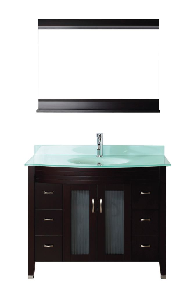 Alba 42-inch W Vanity in Chai/Glass with Mirror and Faucet