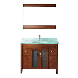 Art Bathe Alba 42-inch W 4-Drawer 2-Door Vanity in Brown With Acrylic Top in Green With Faucet And Mirror