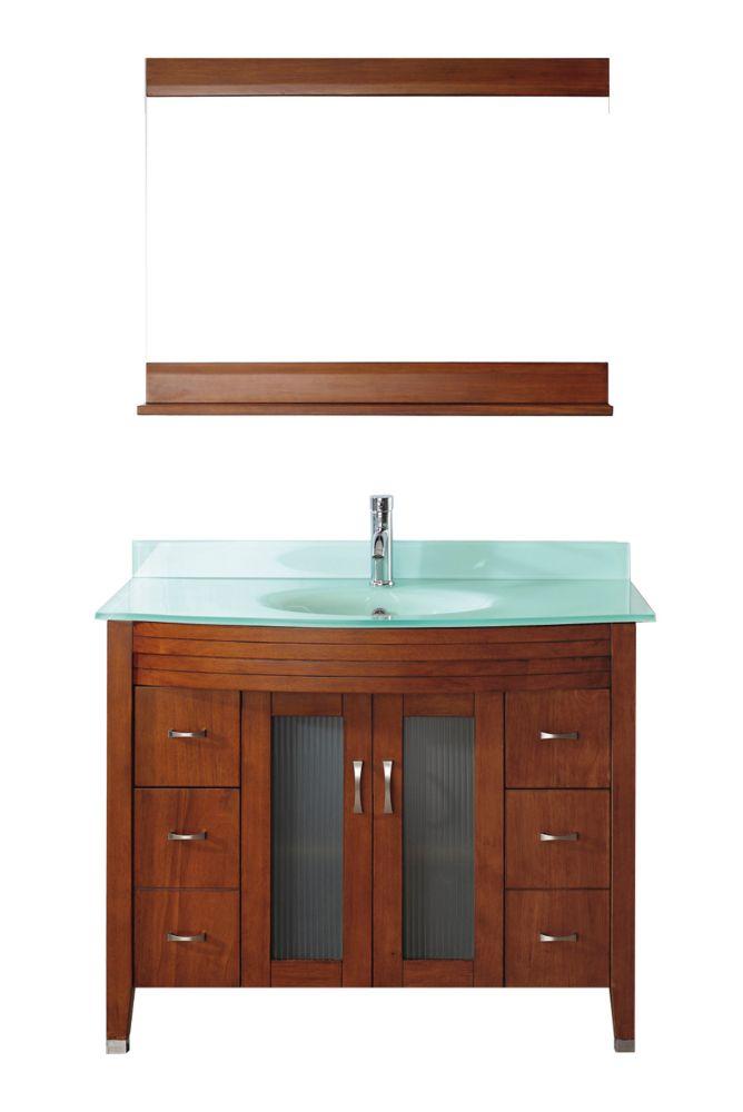 Vanité Alba 42 de couleur cerise classique / verre avec miroir et robinet
