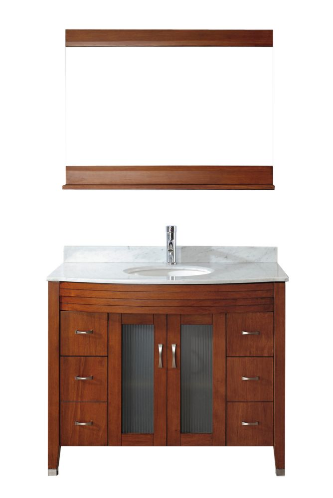 Alba 42-inch W Vanity in Cherry with Marble Top in Carrara and Porcelain Basin and Mirror
