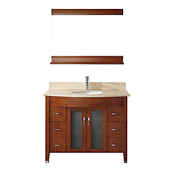 Art Bathe Alba 42-inch W 4-Drawer 2-Door Vanity in Brown With Marble Top in Beige Tan With Faucet And Mirror