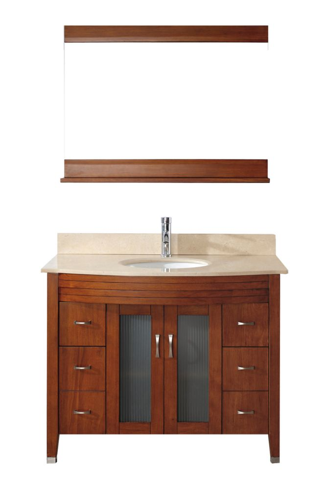 Alba 42-inch W 4-Drawer 2-Door Vanity in Brown With Marble Top in Beige Tan With Faucet And Mirror