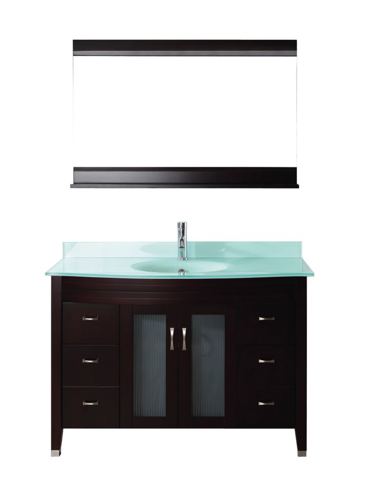Alba 48-inch W 4-Drawer 2-Door Vanity in Brown With Acrylic Top in Green With Faucet And Mirror