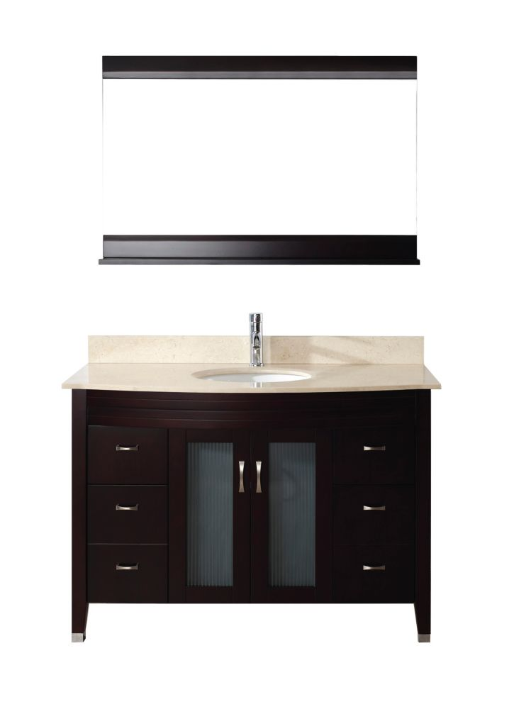 Alba 48-inch W Vanity in Chai/Beige with Mirror and Faucet